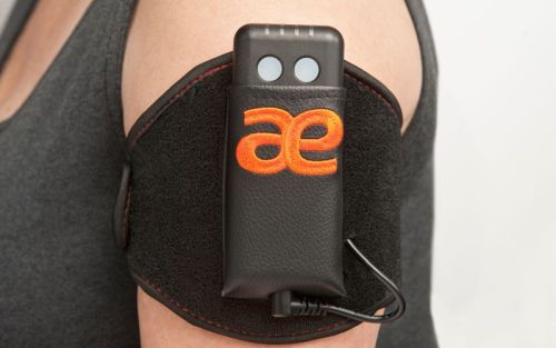 Fit the non-invasive device to your arm with the arm strap