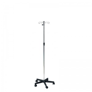 Sunflower Medical Chromed Steel IV Stand with Plastic Base (4 Hooks)