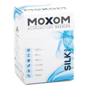 MOXOM Silk Plus Silicone Coated Acupuncture Needles with Guidance Tube (Pack of 100)