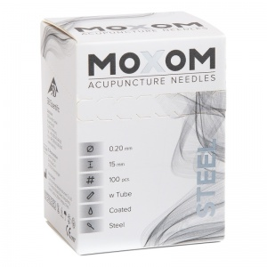 MOXOM Steel Silicone Coated Acupuncture Needles with Guidance Tube (Pack of 100)