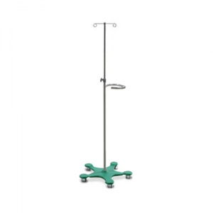 Bristol Maid Four-Hook Easy-Clean IV Stand with Green Base and Handle