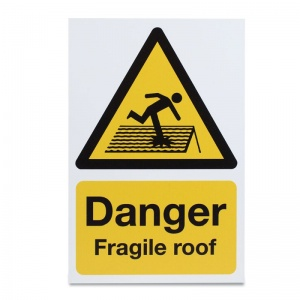 'Danger Fragile Roof' Safety Sign