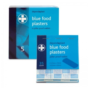 Dependaplast Blue Food Plasters in Pilfer Proof Wallet (Pack of 5)