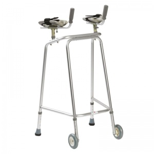 Drive Medical Hospital Medium Walking Frame with Wheels and Forearm Platforms