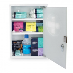Medium Workplace First Aid Kit Plus in Metal Cabinet with Glass Door
