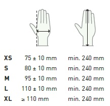 Delight Lite gloves sizing chart