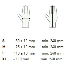 Delight PF gloves sizing chart