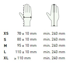Aurelia Zero gloves sizing chart