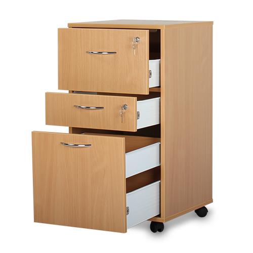 Bristol Maid Beech Bedside Cabinet Three Drawers