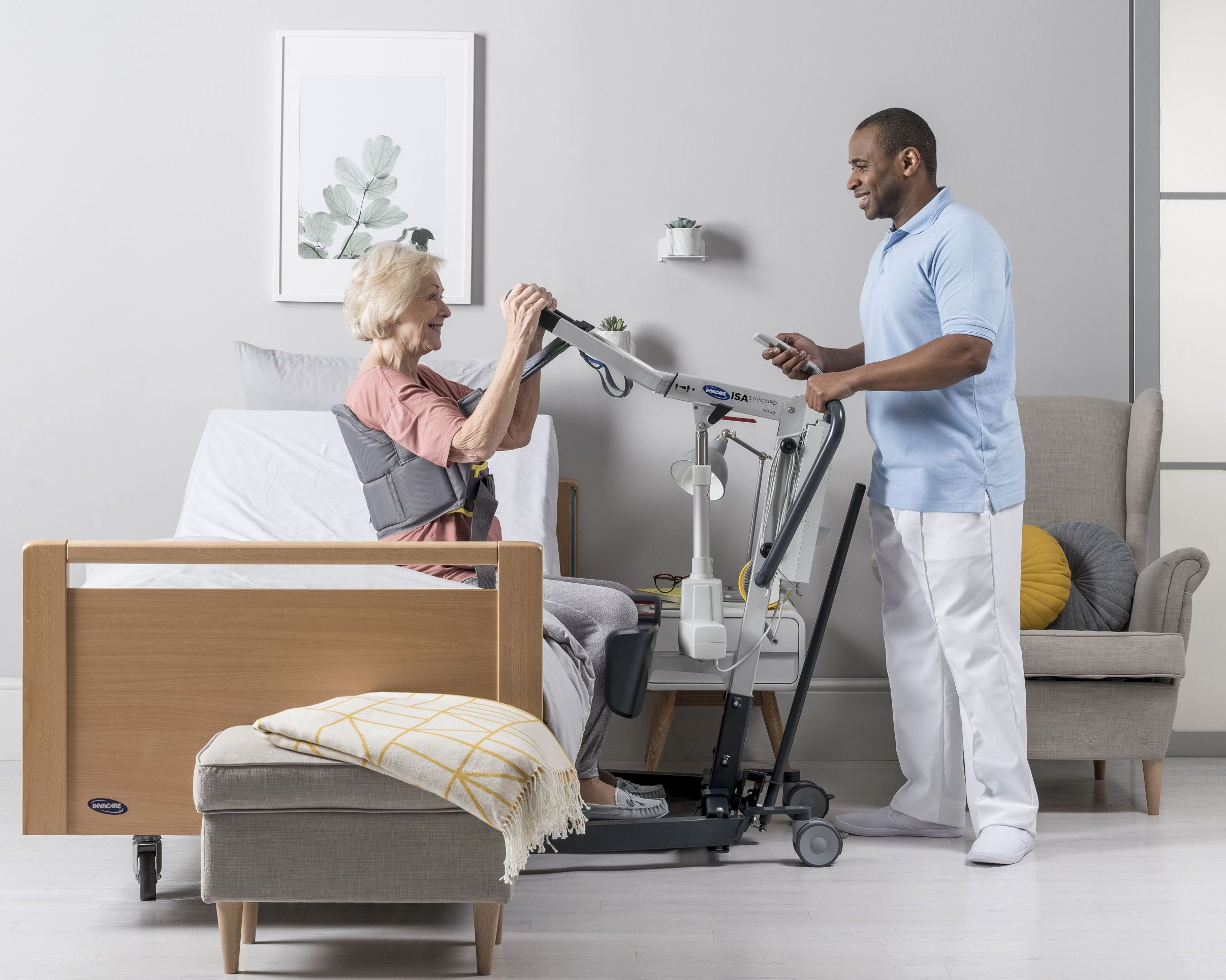 The Invacare ISA Stand Assist Hoist allows for comfortable and simple transfers