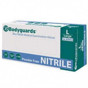Polyco GL890 Bodyguards Blue Nitrile Powder-Free Disposable Gloves