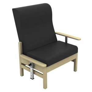 Sunflower Medical Atlas Black High-Back Vinyl Bariatric Patient Armchair with Drop Arms