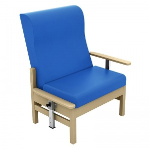 Sunflower Medical Atlas Mid Blue High-Back Vinyl Bariatric Patient Armchair with Drop Arms