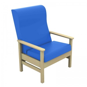 Sunflower Medical Atlas Mid Blue High-Back Vinyl Bariatric Patient Armchair