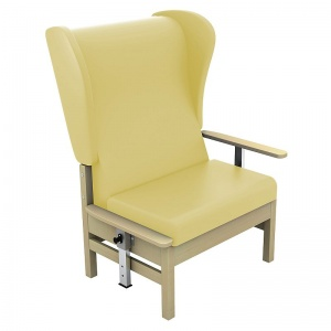 Sunflower Medical Atlas Beige High-Back Vinyl Bariatric Patient Armchair with Drop Arms and Wings