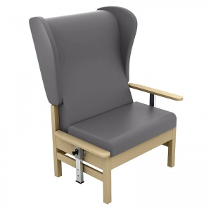 Sunflower Medical Atlas Grey High-Back Vinyl Bariatric Patient Armchair with Drop Arms and Wings
