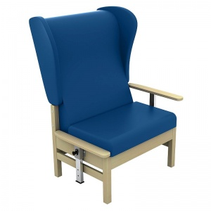 Sunflower Medical Atlas Navy High-Back Intervene Bariatric Patient Armchair with Drop Arms and Wings