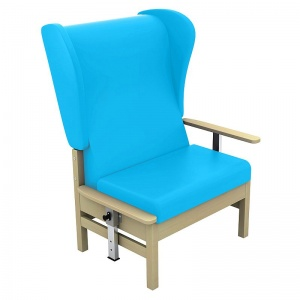 Sunflower Medical Atlas Sky Blue High-Back Vinyl Bariatric Patient Armchair with Drop Arms and Wings