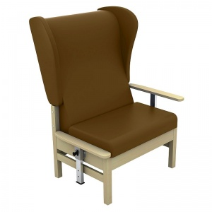 Sunflower Medical Atlas Walnut High-Back Vinyl Bariatric Patient Armchair with Drop Arms and Wings