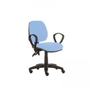 Sunflower Medical Cool Blue Mid-Back Twin-Lever Vinyl Consultation Chair with Armrests and Black Base