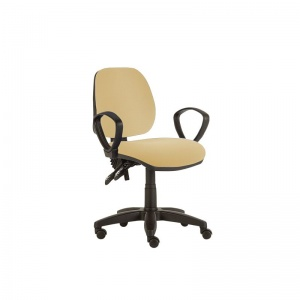 Sunflower Medical Beige Mid-Back Twin-Lever Intervene Consultation Chair with Armrests and Black Base