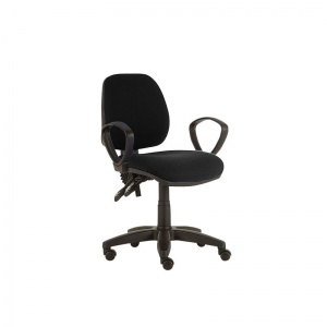 Sunflower Medical Black Mid-Back Twin-Lever Extreme Plus Consultation Chair with Armrests and Black Base