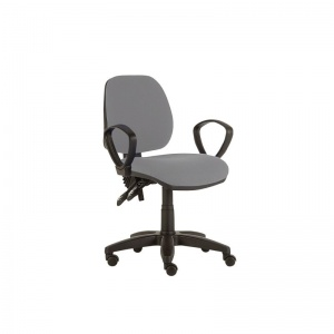 Sunflower Medical Grey Mid-Back Twin-Lever Extreme Plus Consultation Chair with Armrests and Black Base