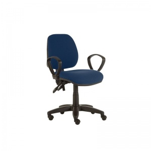 Sunflower Medical Navy Mid-Back Twin-Lever Extreme Plus Consultation Chair with Armrests and Black Base