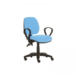 Sunflower Medical Sky Blue Mid-Back Twin-Lever Extreme Plus Consultation Chair with Armrests and Black Base