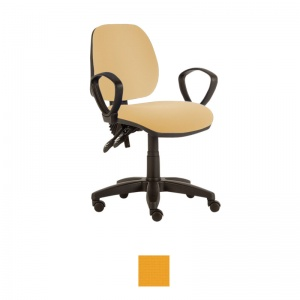 Sunflower Medical Yellow Mid-Back Twin-Lever Extreme Plus Consultation Chair with Armrests and Black Base