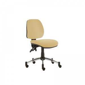 Sunflower Medical Beige Mid-Back Twin-Lever Intervene Consultation Chair with Chrome Base