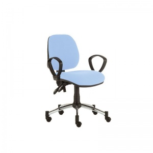 Sunflower Medical Cool Blue Mid-Back Twin-Lever Vinyl Consultation Chair with Armrests and Chrome Base