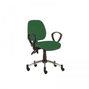 Sunflower Medical Green Mid-Back Twin-Lever Vinyl Consultation Chair with Armrests and Chrome Base