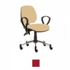 Sunflower Medical Red Mid-Back Twin-Lever Extreme Plus Consultation Chair with Armrests and Chrome Base