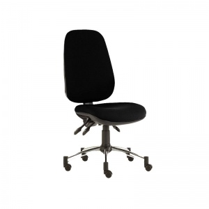 Sunflower Medical Black Deluxe Executive High-Back Three-Lever Extreme Plus Consultation Chair with Chrome Base