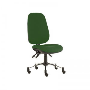 Sunflower Medical Green Deluxe Executive High-Back Three-Lever Vinyl Consultation Chair with Chrome Base