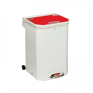 Sunflower Medical 50 Litre Clinical Hospital Waste Bin with Red Lid for Anatomical Waste for Incineration