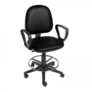Sunflower Medical Black Gas-Lift Chair with Foot Ring and Arm Rests
