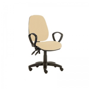 Sunflower Medical Beige High-Back Twin-Lever Intervene Consultation Chair with Armrests and Black Base