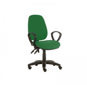 Sunflower Medical Green High-Back Twin-Lever Vinyl Consultation Chair with Armrests and Black Base