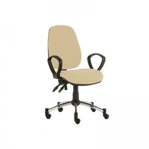 Sunflower Medical Beige High-Back Twin-Lever Intervene Consultation Chair with Armrests and Chrome Base