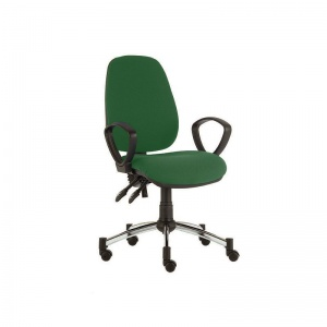 Sunflower Medical Green High-Back Twin-Lever Vinyl Consultation Chair with Armrests and Chrome Base
