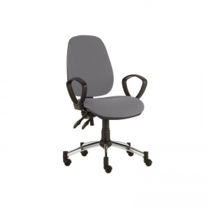 Sunflower Medical Grey High-Back Twin-Lever Vinyl Consultation Chair with Armrests and Chrome Base