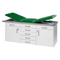 Sunflower Medical Green Three-Section Specialist Treatment Couch with Drawers and Two Cupboards