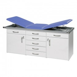 Sunflower Medical Mid Blue Three-Section Specialist Treatment Couch with Drawers and Two Cupboards