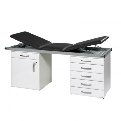 Sunflower Medical Black Three-Section Specialist Treatment Couch with Cupboard and Six Drawers