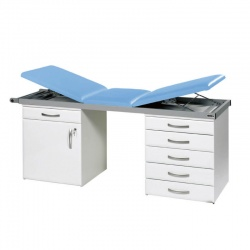 Sunflower Medical Cool Blue Three-Section Specialist Treatment Couch with Cupboard and Six Drawers