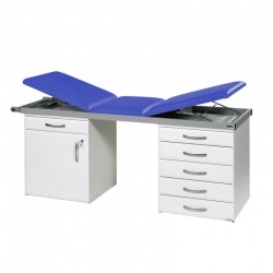 Sunflower Medical Mid Blue Three-Section Specialist Treatment Couch with Cupboard and Six Drawers