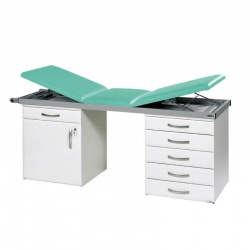 Sunflower Medical Mint Three-Section Specialist Treatment Couch with Cupboard and Six Drawers