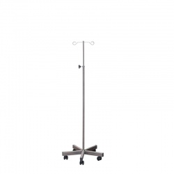 Sunflower Medical Weighted Stainless Steel IV Stand with Two Chrome Hooks